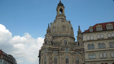 elba : Dresden, Saxony Germany the famous Frauenkirche (Church of our Lady) in the old city center with tourists walking around view from restaurant