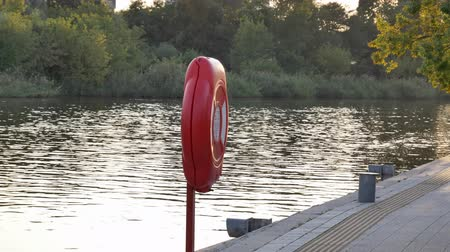 konserve : Lifebuoy at quite harbor river marina in summertime sunset or sunrise Stok Video