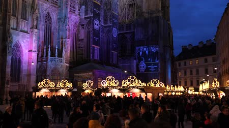 austrian : Christmas decorations Shoppings Streets decorated with chandeliers in old town market in front of the St.Stephens Cathedral Vienna, Austria, Europe December 2018