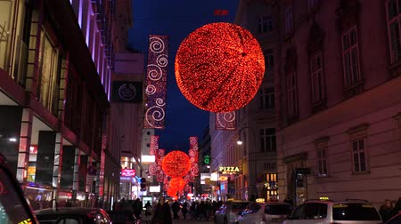 austrian : Christmas decorations Shoppings Streets decorated with chandeliers in old town Vienna, Austria, Europe December 2018