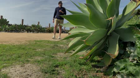 megye : A handsome, young guy, a man in a navy blue shirt with and shorts is walking along in California coast San clemente Linda Lane park. Low angle thru green plants