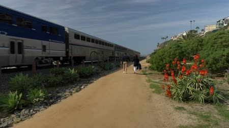 fulllength : Happy Couple Enjoying Beautiful Day Walking holding hands on the Beach. Train passing Pacific surfliner Travel Vacation Retirement Lifestyle Concept California Orange county San clemente