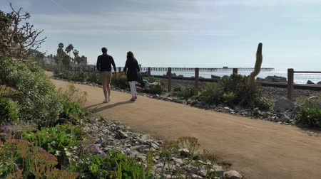 Happy Couple Enjoying Beautiful Day Walking holding hands on the Beach. Travel Vacation Retirement Lifestyle Concept California Orange county San clemente