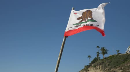 los angeles : California Republic Flag slow motion blue sky background