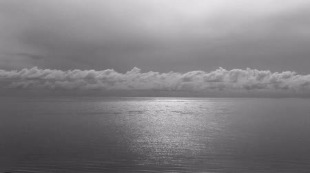 Beautiful sunset over sea of Thailand in black and white photo. Wideo