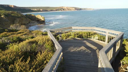 lookout point : Attis point lookout on Great Ocean Road at sunset in Australia, panning shot
