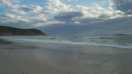 Sunset over squeaky beach in Wilsons prom in Australia, panning shot Stock Footage