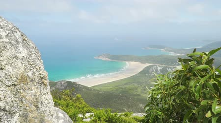 Tidal river in Wilsons prom in Australia as seen from Mount Oberon in the summer Стоковые видеозаписи