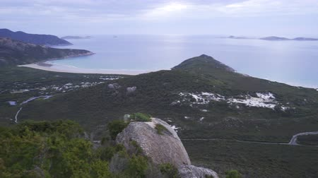 Panorama of Wilsons prom in Australia viewed from Mount Bishop just before sunset