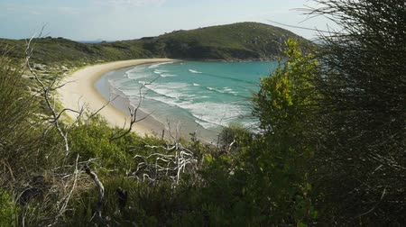 Picnic bay in Wilsons prom national park in Australia, turquoise water and blue sky