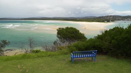 Bench in front of Merimbula bay in New South Wales Australia