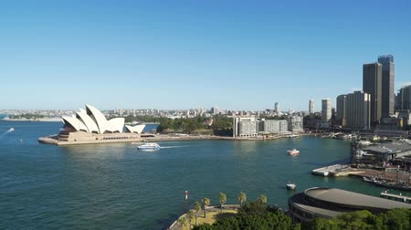 General view of Sydney towers and opera and harbour in the summer, Australia Стоковые видеозаписи
