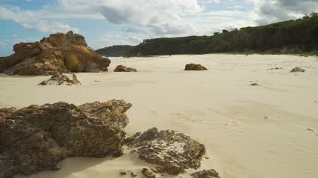 Mallacoota paradise beach in Australia in the summer, pan shot