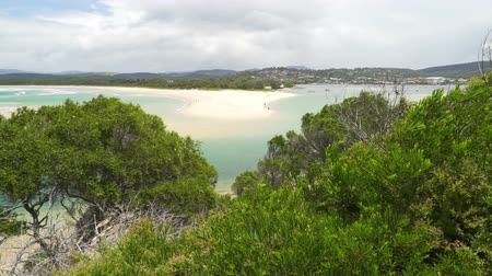 Merimbula beach with its white sand and turquoise sea in Australia Стоковые видеозаписи