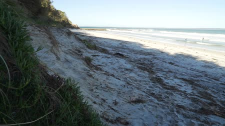 Nelsons beach in Jervis bay in the summer, Australia, pan move