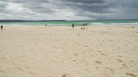 Pambula beach in New South Wales, Australia, in the summer, panning shot Stock Footage