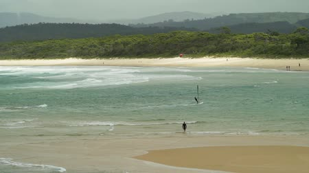 Windsurfing in Merimbula in Australia in the summer