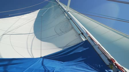 Sail of a monohull yacht seen from below Стоковые видеозаписи
