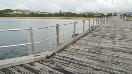 galler : Coffs Harbour pier and city in New South Wales, Australia Stok Video