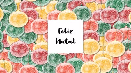 natal : Feliz Natal Christmas card with Christmas bauble as a background, zoom in