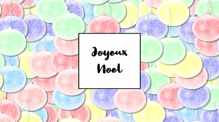мята : Joyeux Noel Christmas card with Rainbow Pastel bauble as a background, zoom in Стоковые видеозаписи