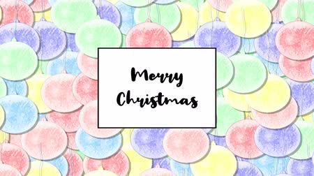 pálido : Merry Christmas Christmas card with Rainbow Pastel bauble as a background, zoom in
