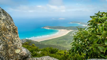 promontory : Wilsons promontory national park view from Mount Oberon, zoom in Stock Footage