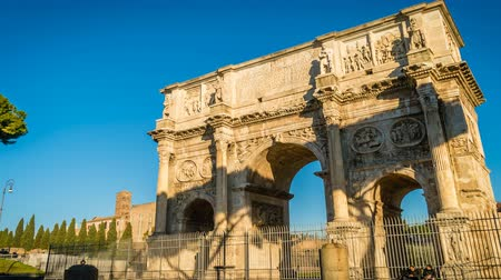 arch of constantine : Arch of Constantine in Rome on a bright sunny morning, zoom in
