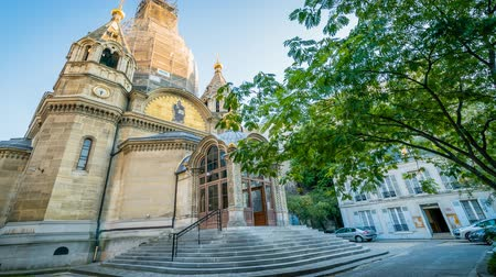 nevsky : Orthodox cathedral Saint Alexander Nevsky in Paris, zoom in Stock Footage