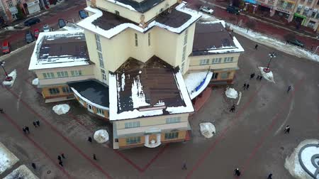 Aerial view of Ivano Frankivsk city, Ukraine. Old historical buildings of european town.