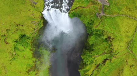 skogafoss : Iceland. Aerial view on the Skogafoss waterfall. Landscape in the Iceland from air. Famous place in Iceland. Landscape from drone. Travel - video Stock Footage