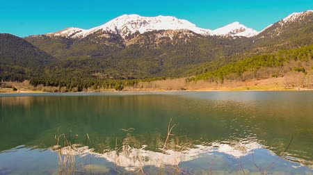 peloponnese : Lake Doxa in Peloponnese Greece against the snowy mountain. Stock Footage