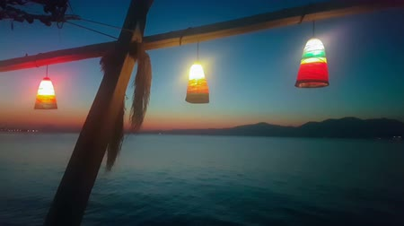 grecja : Summer vacations at Kalamos in Greece. Sea night view with lights.