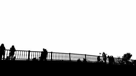 traverse : Black and white  retro of people traversing bridge of Trikala in Greece. Touristic destination. Stock Footage