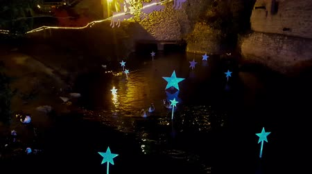 decorado : Christmas decorated pond with ducks and gooses swimming in.