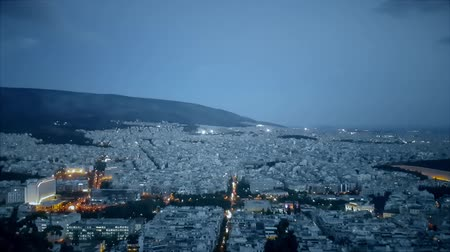 greek : Night view of Athens in Greece. View from the top.