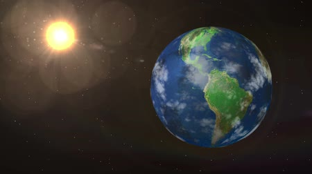 yörünge : Earth and Sun animation with starfield