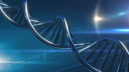 генетика : DNA molecular string moving turquoise blue background