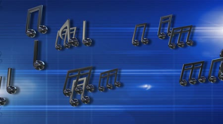 might : chrome musical notes abstract blue background