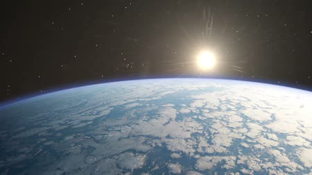 Beautiful Sunrise Over The Earth with Lens Flares. NASA Images Стоковые видеозаписи