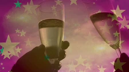 espumante : Party Time - Toasting with a glass of champagne - wine alcohol sparkling bubbles Vídeos