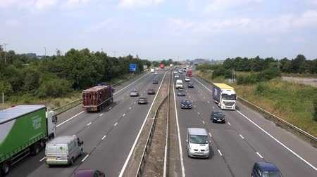 anglia : Stafford, England, UK. July 21st 2014: M6 Motorway Between Junction 13 and 14, Busy free flowing motorway traffic running smoothly Stock mozgókép