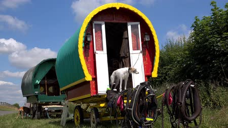 sáně : Colorful Traditional Romany Caravans parked at side of the road,