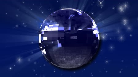 disko : Glittering Disco Dance Mirror Ball Blue Background