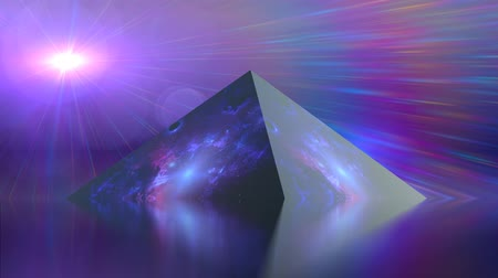 sztuka : rainbow colored light with pyramid abstract art background