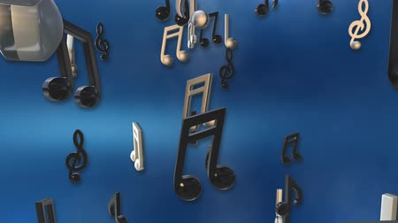 notlar : spinning musical notes background Stok Video