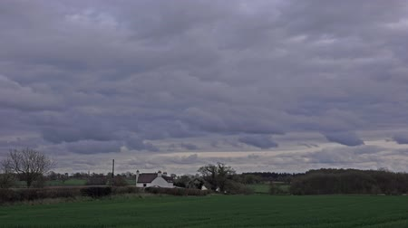 ninhada : storm clouds approaching over English Countryside: Shropshire, England - April 2016 Stock Footage