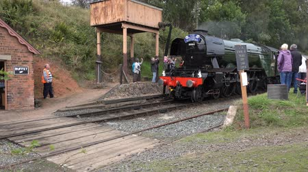 trilho : Eardington, Bridgenorth, Shropshire, England: Saturday 14th September 2016: Public gather to train-spot The Flying Scotsman on the Seven Valley Railway.