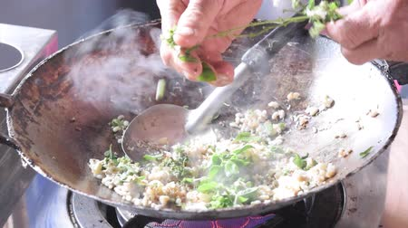 Stir fry ant eggs, Isan food, northeast Thailand food