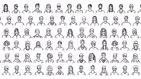 Hand drawn people avatars 2d animation on white background Стоковые видеозаписи